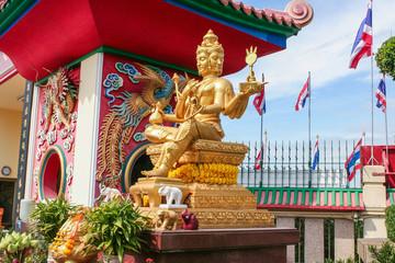 Golden Brahma statue.