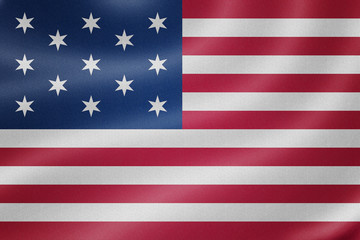 United States flag on the fabric texture background