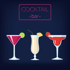 Cocktail Bar Vector Illustration with Some Cocktails on the Table