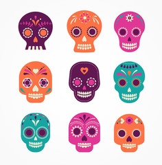 skull set, Mexican day of the dead