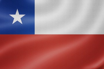 Chile flag on the fabric texture background