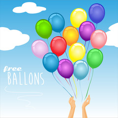 Colorful party balloons in the air – vector illustration.Hands just released the party balloons into the air.