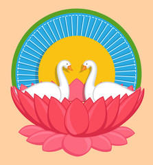 Cartoon Swan Birds in Lotus Flower Indian Background