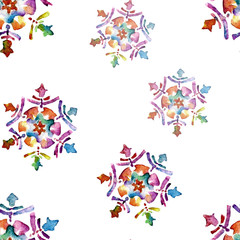 Seamless pattern with snowflakes. Watercolor illustration.