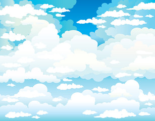 Blue sky and group of clouds.