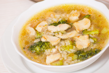 chicken soup with rice and broccoli