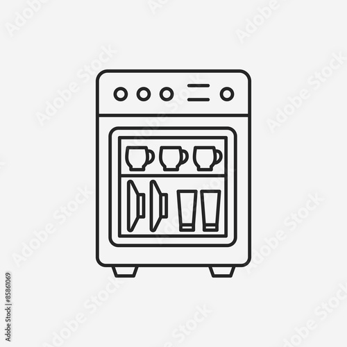 dishwasher line icon stock image and royalty free vector files on pic 85861069. Black Bedroom Furniture Sets. Home Design Ideas