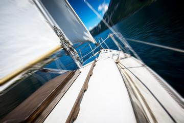 sailing on the lake - blurred style photo