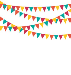 Multicolored bright buntings flags garlands isolated on white ba
