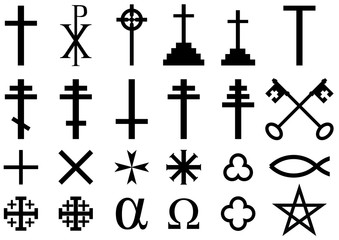 Christian religious symbols: A collection of vector icons and symbols associated with the Christian faith isolated on white background