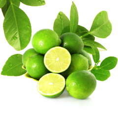 fresh lemon lime citrus fruit with leaves and cutting in white background