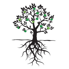 Black vector tree, leafs, roots and green apple