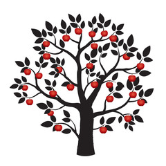 Illustration of Black Tree and Red Apples.