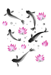 Ink Koi carp illustration. Vector image.