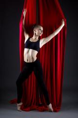 Studio photo of beautiful talented dancer posing