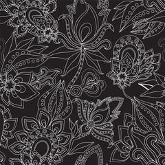 seamless paisley pattern.russian floral design. vector illustrat