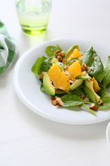 salad with avocado and spinach