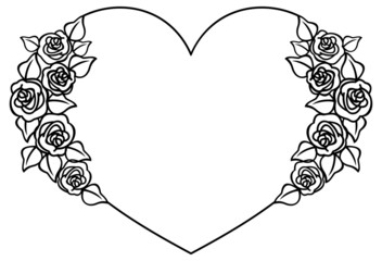 Heart-shaped silhouette frame with roses