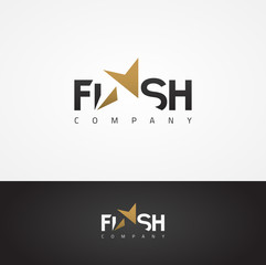 Vector graphic elegant Flash symbol with star shape for your company