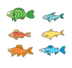 Set with six cartoon fishes.