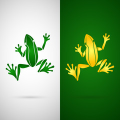 Vector image of an frog design on white background and green bac