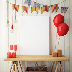mock up poster with party decoration