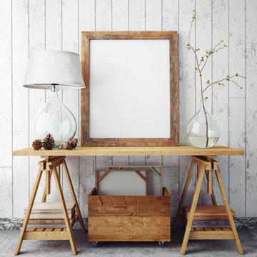 mock up poster frame in hipster interior