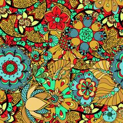 Printed kitchen splashbacks Moroccan Tiles Seamless Floral Pattern