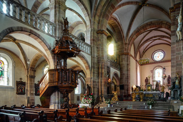 Majestic interior of Abbey-church of Saint Peter and Saint Paul
