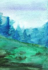 Blue green forest fog autumn wood