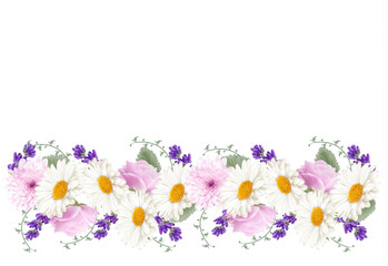 Beautiful holiday flower banner border. Vector.