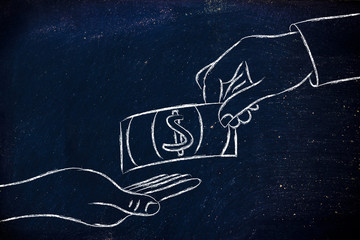 hands exchanging money, concept of selling and buying