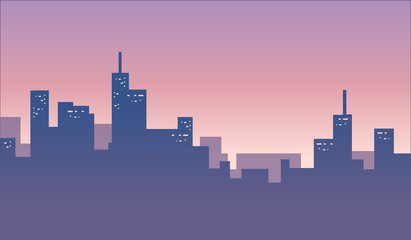 Colorful city skylines background banner vector illustration