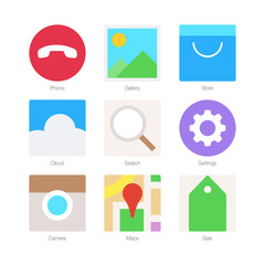 Vector Minimal Flat Icons for mobile phones Set 2
