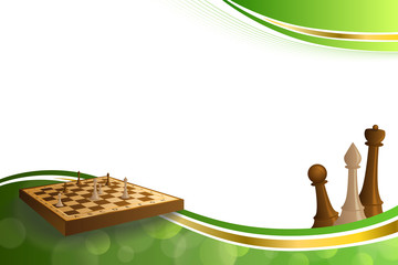 Background abstract green gold chess game brown beige board figures illustration vector