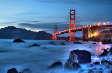 Golden Gate Bridge Lights. Magic hour over the Golden Gate Bridge.