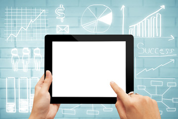 Close-up digital tablet with blank screen against drawing business plan concept,mobile strategy, business finance concept.