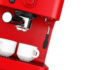 Closeup Espresso Coffee Making Machine. 3d rendering