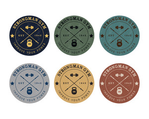 Gym logo color set in vintage style