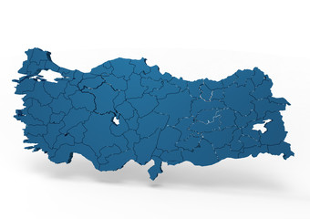 turkey map  with district