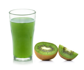 Kiwi fruit juice isolated on white background