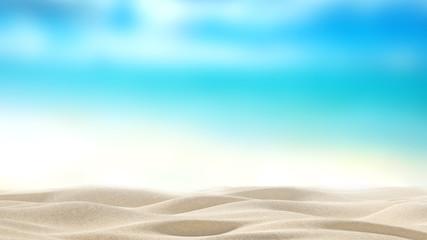 sandy beach with blur sea