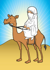 Asian muslim riding a camel