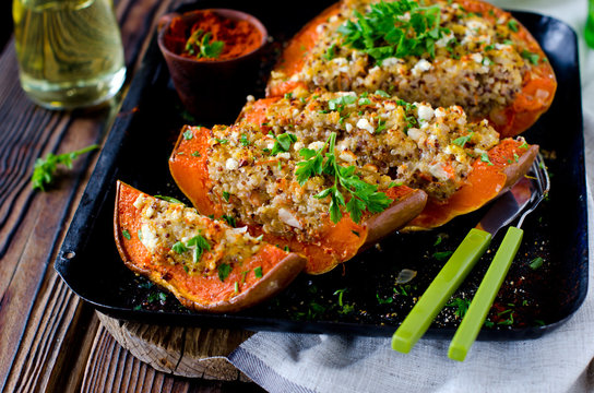 Pumpkin stuffed with quinoa and cheese