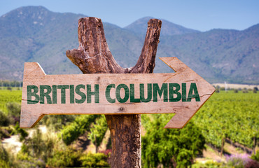 British Columbia wooden sign with winery background