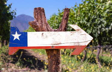 Chile Flag wooden sign with winery background