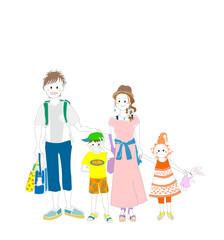 家族四人、夏、外出、行楽地、旅行