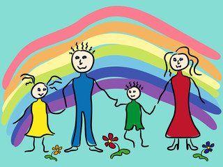 Family and rainbow