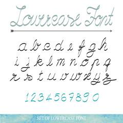 Black blue alphabet lowercase letters,cursivus,number.Hand drawn