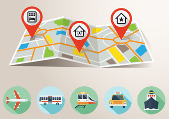 Travel Map with GPS Pin Mark and Transportation Flat Icons